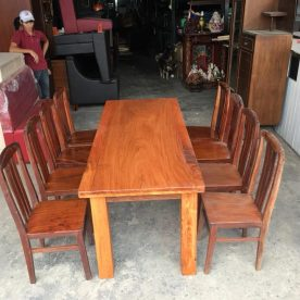Bộ bàn ăn gỗ gõ đỏ 8 ghế giá rẻ