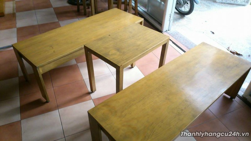 Thanh lý bàn ghế cafe gỗ thông Mỹ đôn dài
